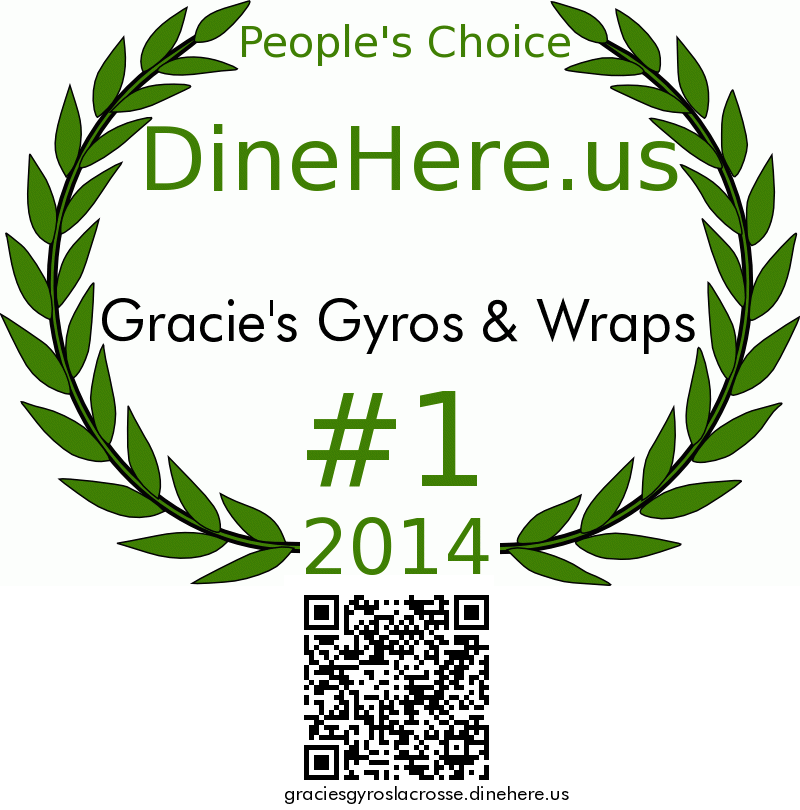 Gracie's Gyros & Wraps DineHere.us 2014 Award Winner