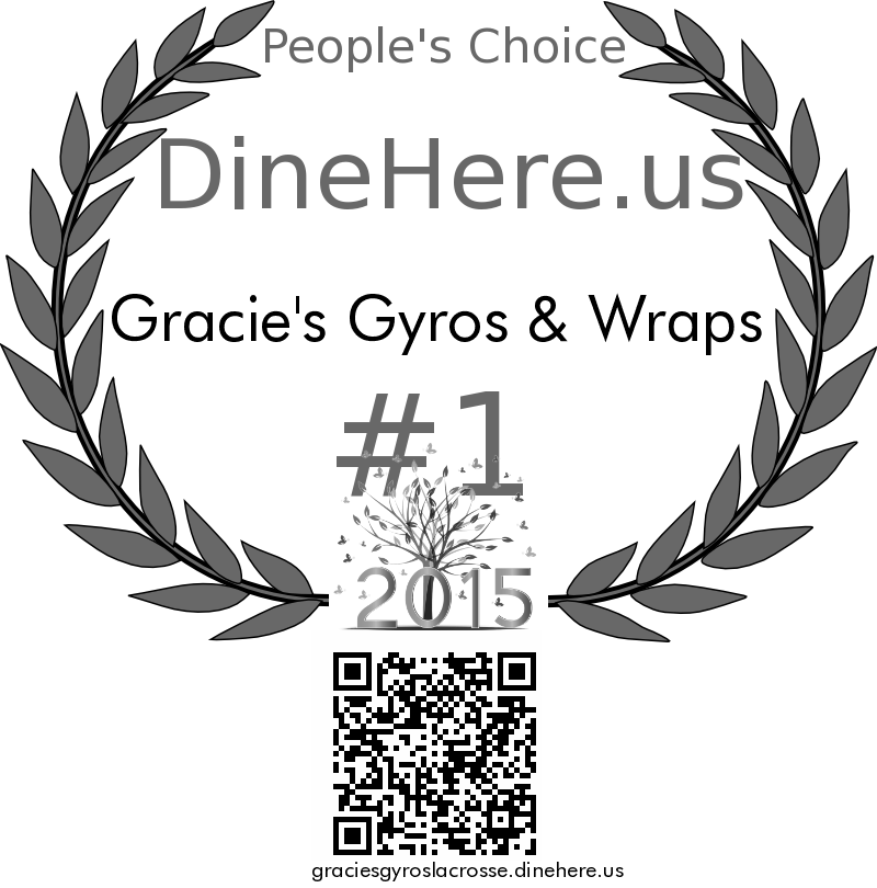 Gracie's Gyros & Wraps DineHere.us 2015 Award Winner