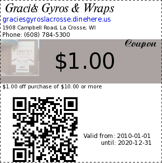 Gracie's Gyros & Wraps coupon : $1.00 off purchase of $10.00 or moreNot redeemable for cash ~ one coupon per customer